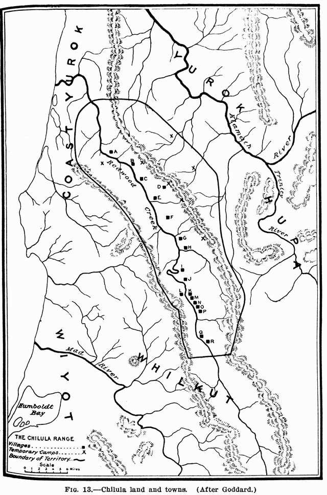 Fig. 13: Chilula land and towns.