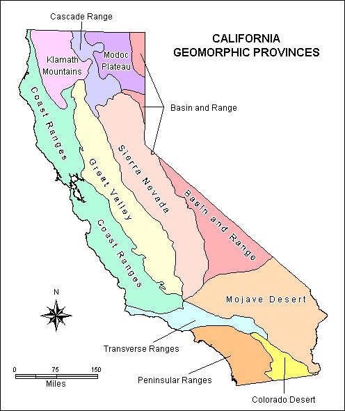 California geomorphic provinces – click for California Geotour (courtesy California Geological Survey)