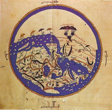 Medieval Arabic world map. Presented to the Norman king of Sicily by Arabic geometer al-Idrisi in AD 1154 (note: south is at top).
