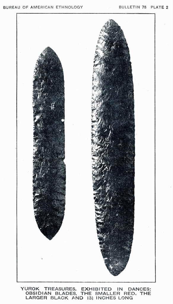 Plate 2. Yurok treasures, exhibited in dances: obsidian blades.