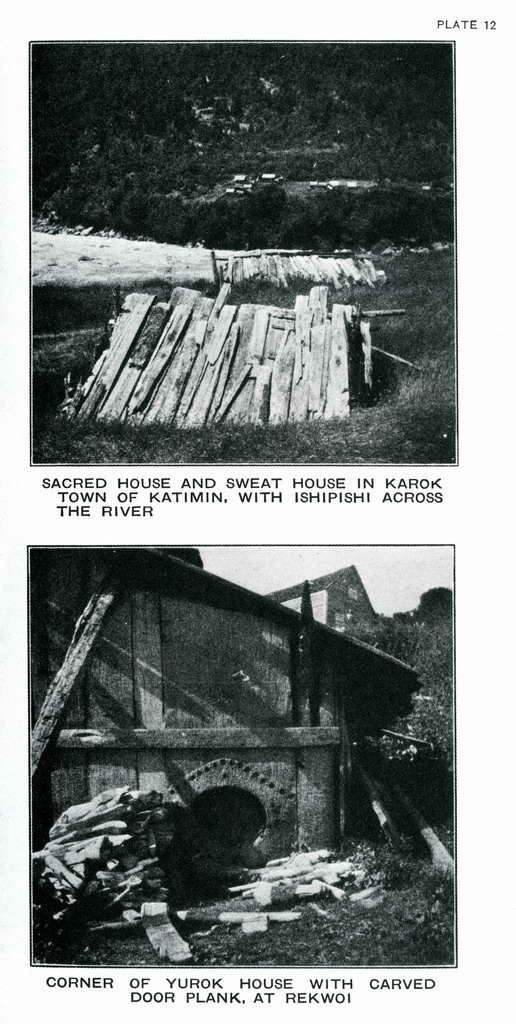 Plate 12. Corner of Yurok house with carved door plank, at Rekwoi.