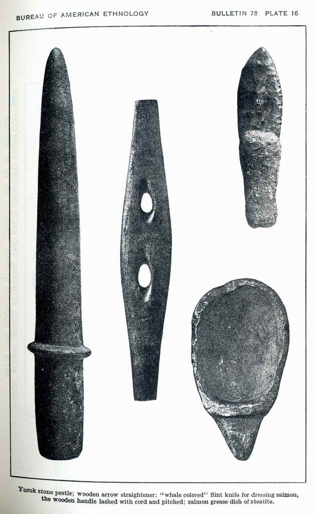 Plate 16. Flint knife for dressing salmon, the wooden handle lashed with cord and pitched. Yurok.