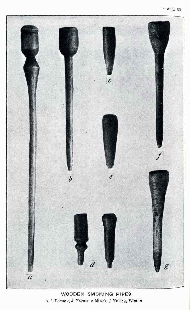 Plate 30. Wooden smoking pipes: Pomo, Yokuts, Miwok, Yuki, Winton.