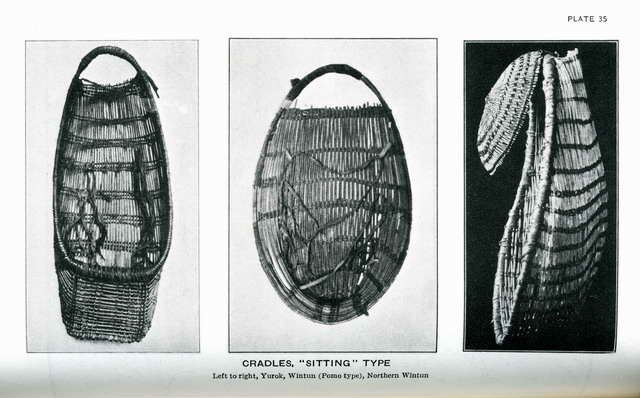 Plate 35. Cradles, sitting type: Yurok, Wintun (Pomo type), Northern Wintun.