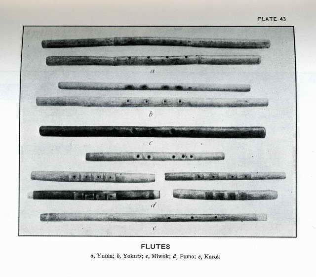Plate 43. Flutes: Yuma, Yokuts, Miwok, Pomo, Karok.