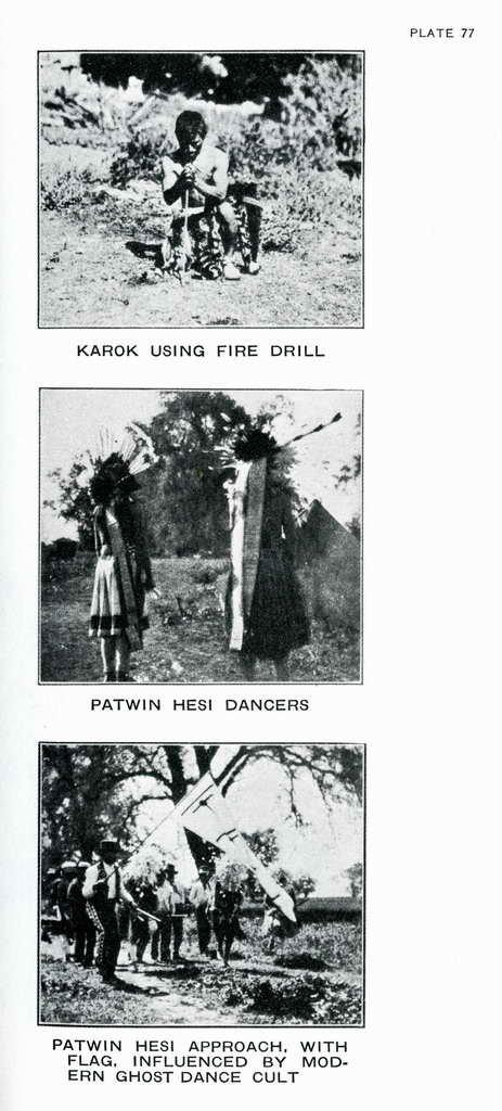 Plate 77. Karok using fire drill.