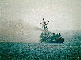 1987-03-17: USS Stark after strike by two Iraqi Exocet missiles