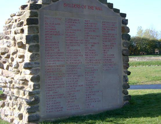 Plaque commemorating the names of the builders of Wallsend portion of Hadrian's Wall (photographer: Phil Kennedy)