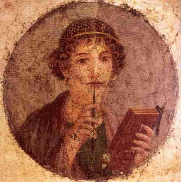 Fresco: Woman muses with writing stylus, Pompeii, 1st century AD