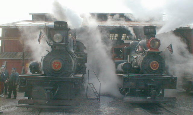 Roaring Camp steam locomotives before engine house (photographer: Michael McNeil)
