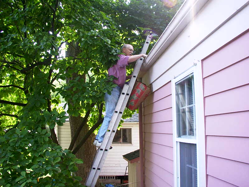 how to clean gutters high up