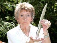 winifred whelan brandishes her Crocodile Dundee knife