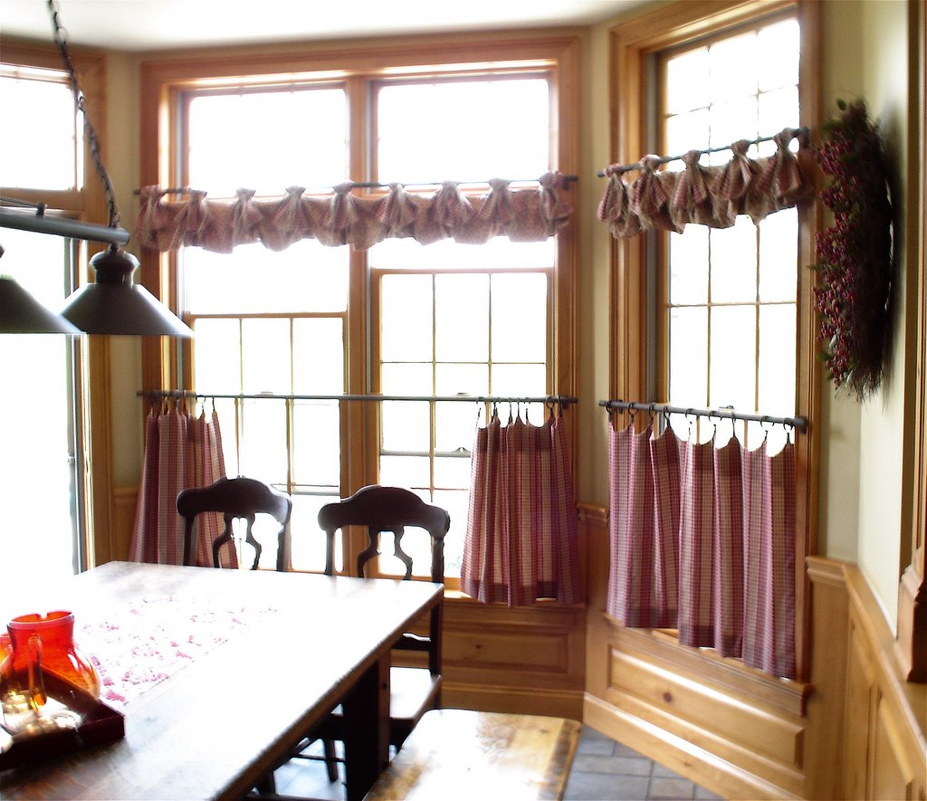 Dining room country curtains - Country Valance W Burlap Ties And Scalloped Top Cafe Curtains On Rings