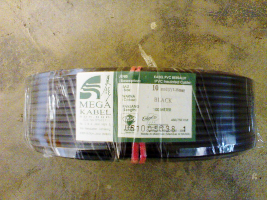 New rolls of cable purchased. The lenght of each roll is 100meter and the  size(area) is 10mm(2) . Each unit requires 3 cables:- Live, Neutral and  Earth.