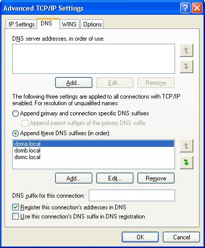 Dns Search String Suffix From Network Properties
