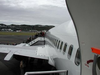 Air New Zealand B737 on the rear stairs looking forward