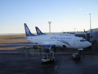 Two Air New Zealand B737s being readied for trips to Wellington