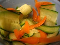Cucumber and Carrot Slices in Rice Vinegar