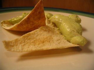 Avacado Pate on Pita Chips