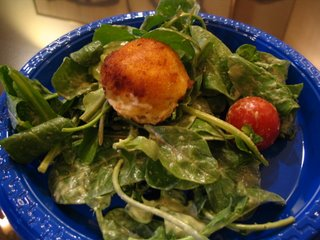 Fried Goat Cheese on an Arugula Salad