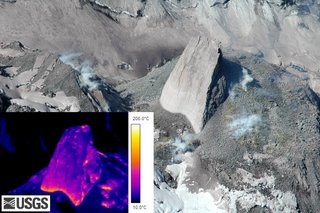 Infrared image of the growing rock slab on Mount St. Helens