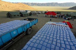 Water trucked in for the start of the Gobi Race