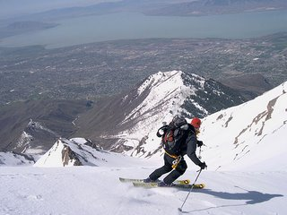 Seth skiing on the timpanogos glacier saddle - it's tempting to ski to Provo