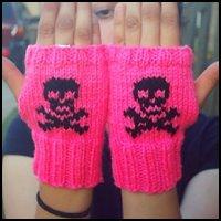 Hot Pink and Black Skull and Crossbones Fingerless Gloves