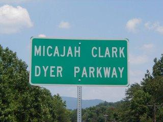 Micajah Clark Dyer Parkway sign