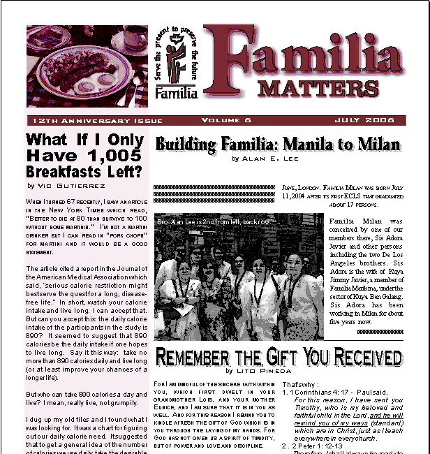 13th Anniversary issue of Familia Matters