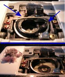 before and after cleaning bobbin area of sewing machine