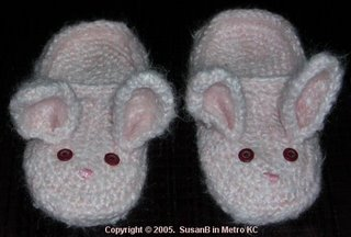 crocheted fluffy bunny slippers