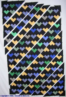 Scrappy Hearts quilttop partly assembled