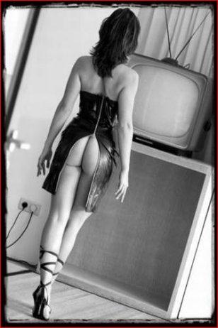 Woman in dress exposing butt