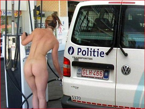 Nude gal pumping gas in van