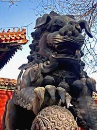 Lion in Lama Temple in Beijing, China