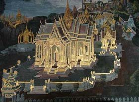 Grand Palace Paiting on Phra Rabiang in Wat Phra Kaew Bangkok