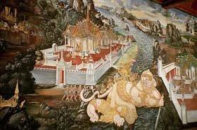 Mural Painting at Phra Rabiang in Wat Phra Kaew Bangkok