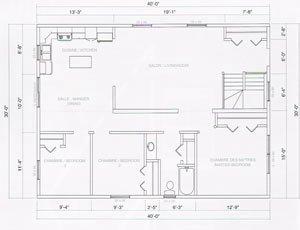 plan maison 30 x 40