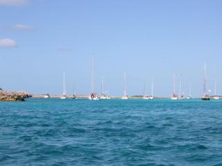crowded anchorage as all the boats wait out the norther