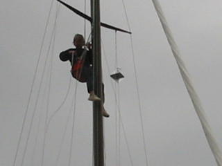 Bev -- her first trip up the mast