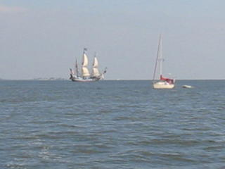 Square rigger sailing down the Potomic as Le Voile au Vent sails by