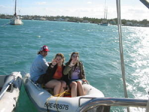 Our kids, Paul, Rhonda & Brenda enjoying a dinghy ride