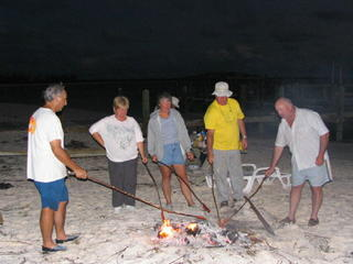 Campfire on Beach, Brian and Larry with group, Ron took picture
