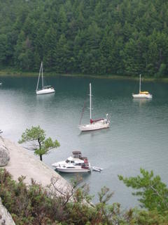 Steelaway anchored in Covered Portage Cove, Killarney