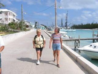 Bev & Kathy walking in Spanish Wells