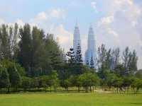 view of Petronas Twin Towers from Lake Titiwangsa
