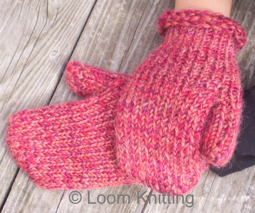 Loom Knitting: Mittens Pattern Available