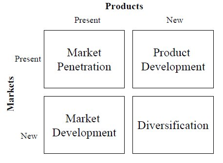 Business economics ansoff matrix for Product development consulting