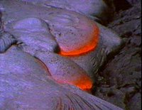 Pahoehoe or ropey molten lava cooling